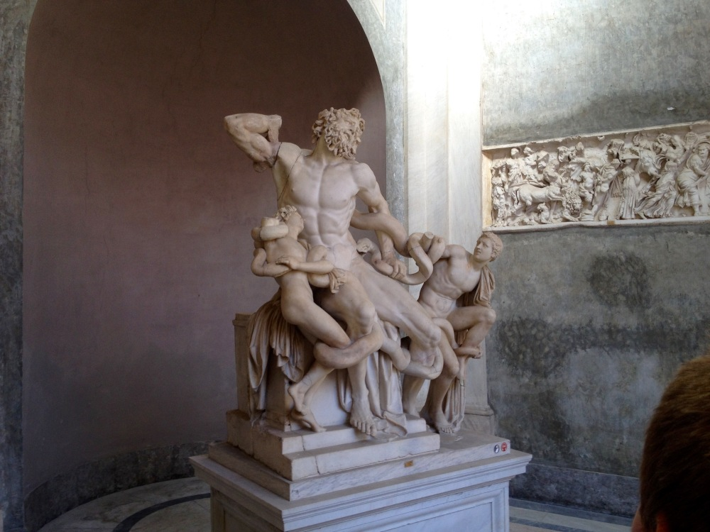 The statue thought to have inspired Jesus' form in the Sistine Chapel end scene