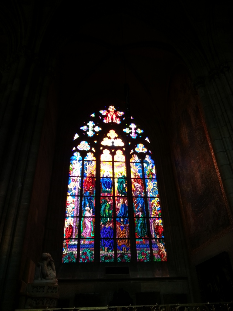 The stain glass windows are more like mosaics than anything