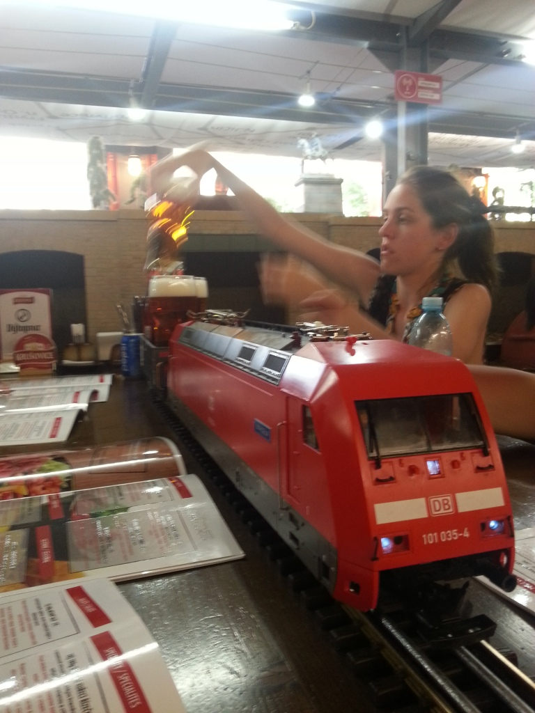 Drinks delivered by train straight to your table