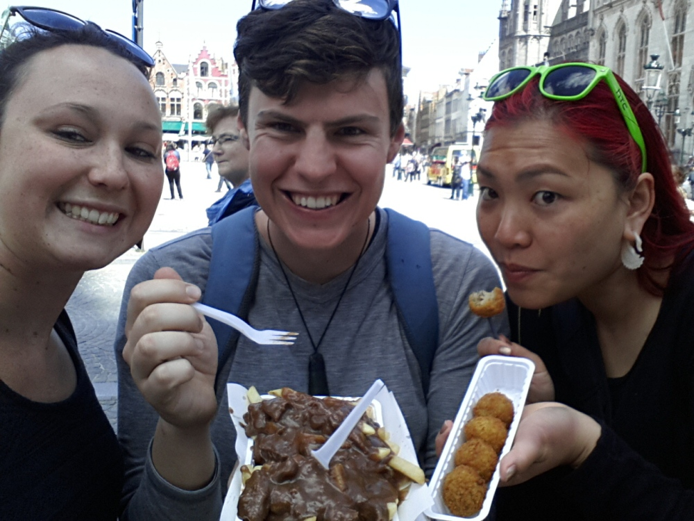 Some of the local foods, Flemish stew on fries & some crumbed balls with rice and meat. This is our friend Ada from Auckland.