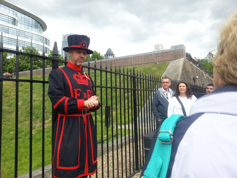 Our Yeoman Warder Guide (Colloquially known as Beefeaters)