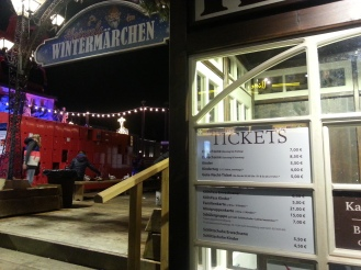 Prices for ice skating in the old town market, note that entry and skate hire are separate