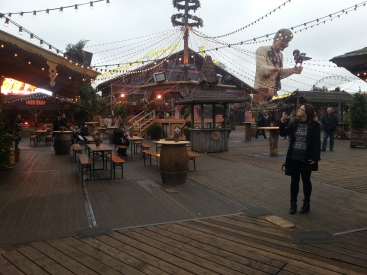 part of the german market, the biggest animatronic I've ever seen in the background