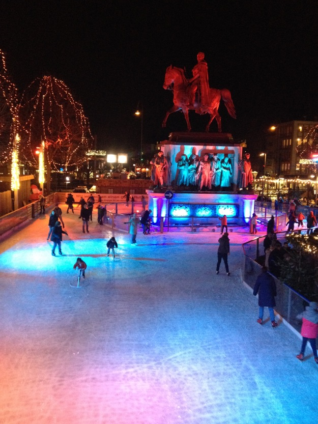 The other end of the ice skating circuit at the Old town Christmas market