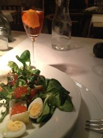 Lamb leaf, quail egg and salmon egg salad