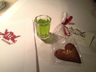complementary house mint vodka and cookie to finish off the evening